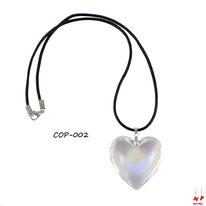 Collier à pendentif coeur en verre transparent