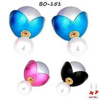 Boucles d'oreilles double perles nacrées fleurs ouvertes bleues, roses ou noires