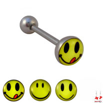 Piercing langue logo smiley sur boule plate en acier chirurgical