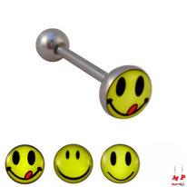 Piercing langue logo smiley jaune 3 modèles en acier chirurgical