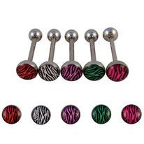Piercing langue boule plate zébrée 5 couleurs