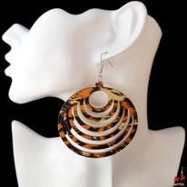 Boucles d'oreilles anneaux pendants en bois