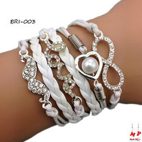 Bracelet infini blanc et multi-breloques moustache, love et coeur argentés à strass