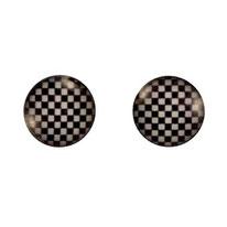 Boucles d'oreilles logos échiquiers noirs et blancs