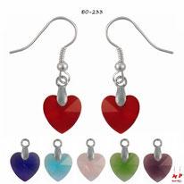 Boucles d'oreilles pendantes à coeurs en acrylique six couleurs