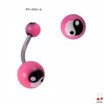 Piercing nombril à boules acryliques yin yang roses, noirs et blancs