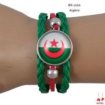 Bracelet drapeau de l'Algérie en similicuir