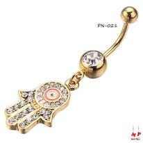 Piercing nombril pendentif main de Fatma dorée à strass