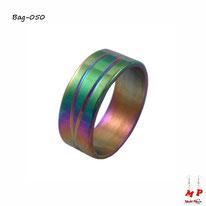 Bague anneau mixte arc-en-ciel à traits en acier inoxydable