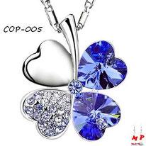 Collier à pendentif trèfle à quatre feuilles argenté et strass bleus