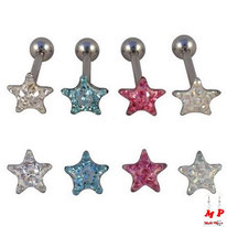 Piercings langue boules étoiles à strass sous dôme 4 couleurs