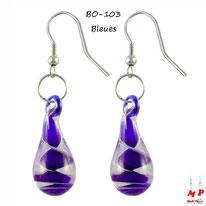 Boucles d'oreilles pendantes gouttes d'eau et tourbillons bleus en verre