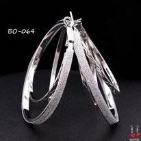 Boucles d'oreilles triples anneaux argentés et paillettes argentées