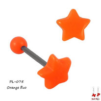 Piercing langue étoile orange fluo en acrylique