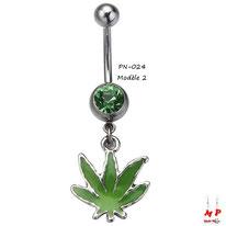 Piercing nombril à strass vert et son pendentif feuille de cannabis verte