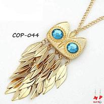 Collier sautoir hibou doré à plumes en métal et yeux bleus turquoise