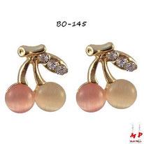 Boucles d'oreilles cerises dorées avec opales blanches et roses avec strass