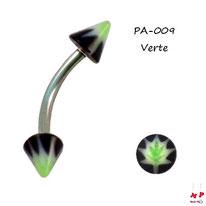 Piercing arcade pointes acrylique noires et feuilles vertes