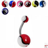 Piercings nombrils bioflex à boules acryliques yin yang 7 couleurs