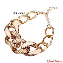 Bracelet fantaisie à gros maillons dorés