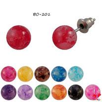 Boucles d'oreilles perles effet peinture 10mm 12 couleurs