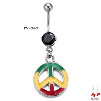 Piercing nombril à strass noir et pendentif Peace and Love rasta