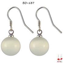 Boucles d'oreilles pendantes perles rondes opale