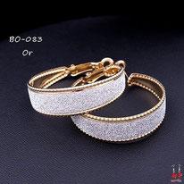 Boucles d'oreilles petits anneaux dorés et paillettes argentées