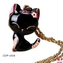 Collier pendentif chat noir
