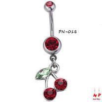 Piercing nombril à strass rouge et son pendentif cerise rouge en acier