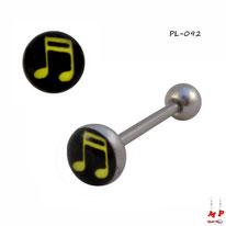 Piercing langue logo note de musique jaune sur fond noir en acier chirurgical