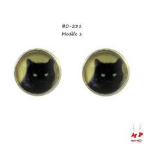 Boucles d'oreilles puces rondes à chats noirs