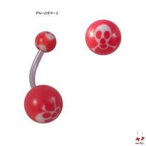 Piercing nombril à boules acryliques têtes de morts blanches et rouges et sa tige en acier chirurgical