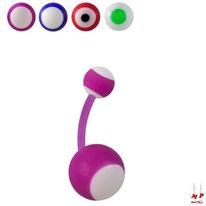 Piercings nombril bioflex à boules acryliques motifs ronds