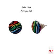 Boucles d'oreilles à puces rondes zébrées couleur arc-en-ciel
