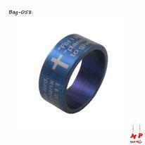Bague bleue métal à gravure de la prière Notre Père en anglais en acier inoxydable