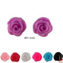Boucles d'oreilles fleurs de roses en résine 7 couleurs