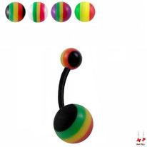 Piercings nombril bioflex à boules acryliques rasta 4 couleurs