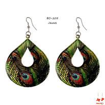Boucles d'oreilles pendantes ovales motifs plumes de paons jaunes
