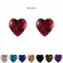 Boucles d'oreilles à coeurs en strass huit couleurs et griffes argentées