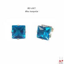 Boucles d'oreilles à strass carrés bleu turquoise 8mm