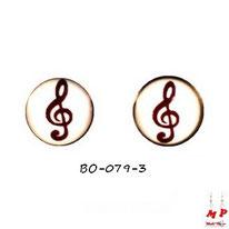 Boucles d'oreilles rondes 7mm logo clé de sol noires et blanches en acier
