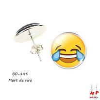 Boucles d'oreilles puces rondes à emoji mort de rire jaune