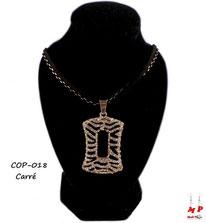 Collier pendentif carré motif zèbre avec strass