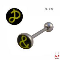 Piercing langue à double logo & et P jaune et noir en acier inox