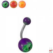 Piercings nombrils à boules acryliques motifs fleurs