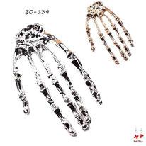 Boucles d'oreilles mains squelette dorées et argentées