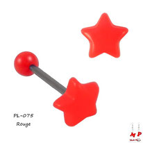 Piercing langue étoile rouge en acrylique