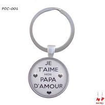 Porte-clés rond je t'aime mon papa d'amour sous cabochon en résine