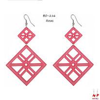 Boucles d'oreilles pendantes double cadres roses